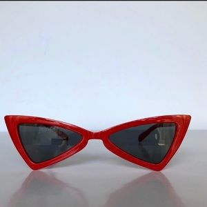 Accessories - Red Slim Cat Eye Triangle Vintage Glasses